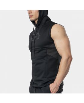 "Sleeveless hoodie ""OutRun"" for men in black 