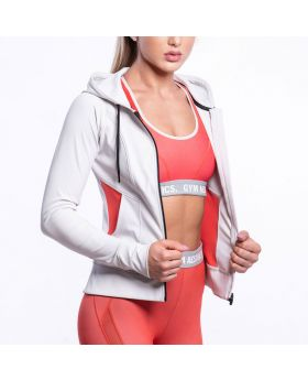 Gym Aesthetics | Performance Hoodie Jacket for Women in Beige - preview