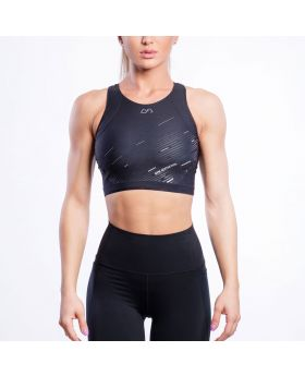 Gym Aesthetics | Performance Longline Crop Sports Bra for Women in Black - previw