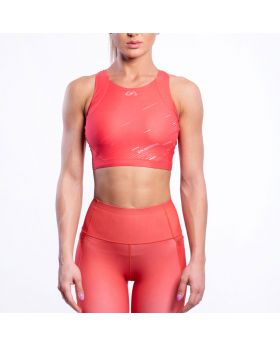 Gym Aesthetics | Performance Longline Crop Sports Bra for Women in Coral - previw