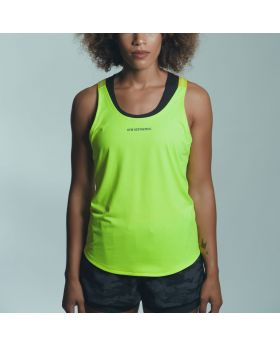 Gym Aesthetics | Workout 'Powerful' Ladies Tank Top Y Back in Lime Green - previw