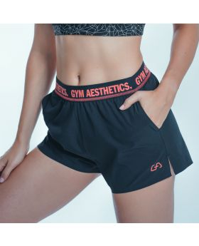 Gym Aesthetics | 'Running' Ladies Thigh Length Shorts in Black - previw
