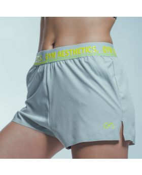 Gym Aesthetics | 'Running' Ladies Thigh Length Shorts in Grey - previw