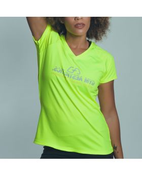 Gym Aesthetics | 'Basic Performance' Ladies Mirror Logo Gym Sport Tee in Lime Green - previw