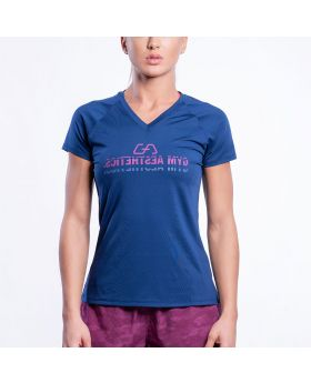Gym Aesthetics | 'Basic Performance' Ladies Mirror Logo Gym Sport Tee in Navy Blue - previw