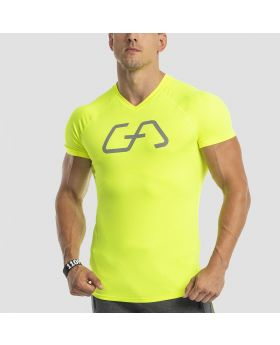 Gym Aesthetics |Logo V-Neck Raglan Shirt 'Intensity' for Men in Neon Yellow - previw