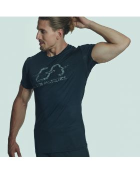 Gym Aesthetics | Workout 'Intensity' Men Tight Loose Fit Tee in Black - preview