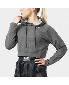 "Cropped hoodie ""RAWSTRNGTH"" for women in grey 