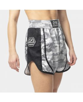 "Muay Thai shorts ""RAWSTRNGTH"" for women in silver 