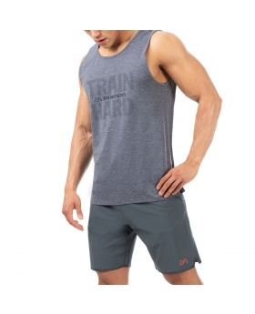 "Fitness Tank Top ""Train Hard"" für Herren in Grau"