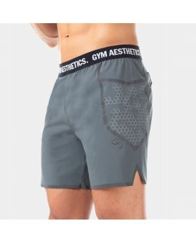 GymAesthetics Men Powerful Heavy Workout Shorts Light Grey