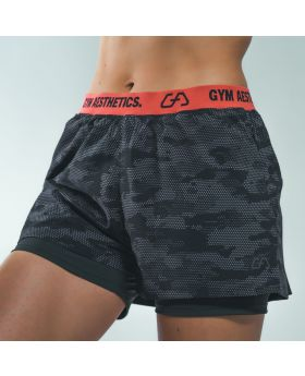 Running' Damen 2 in 1 Oberschenkellange Shorts in Schwarz - preview