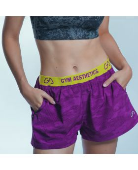 Gym Aesthetics | 'Running' Ladies 2 in 1 Thigh Length Shorts in Purple - previw